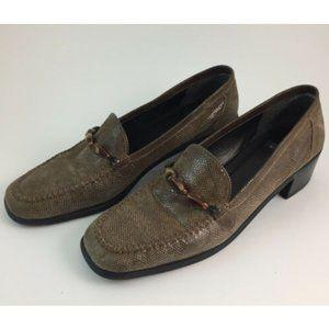Stuart Weitzman Brown Lizard Loafers 9 AA